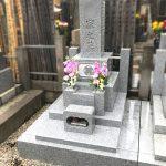 東京都品川区寺院墓地1.6㎡にて、茨城県産の真壁青小目8寸の和型のお墓が完成しました。